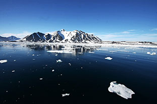 Auswirkungen des Klimawandels Bild: Eismeer mit kleinen Eisbergen und schneebedeckten Bergen im Hintergrund.