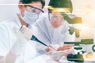 Forscherin mit Mundschutz und Forscher vor dem Mikroskop. Sie pipettiert. - © jk1991/stock.adobe.com