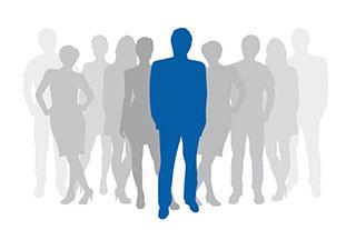 Mehrere gezeichnete Menschen, einer davon ist blau hervorgehoben