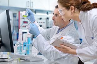Forscherin und Forscher blicken einen Erlenmeyerkolben an