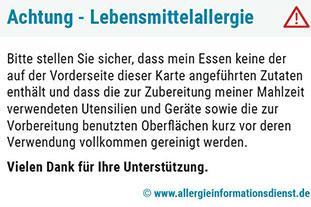Restaurantkarte bei Lebensmittelallergie