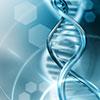 Grafik eines DNA-Doppelstrangs in blau