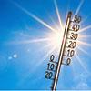 Ein Thermometer wird von der Sonne angestrahlt