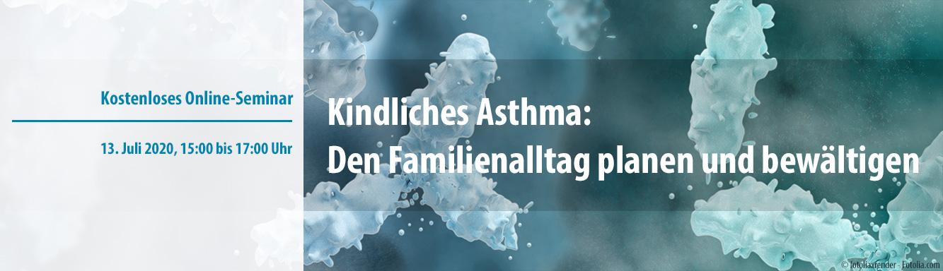 Kostenloses Online-Seminar: Kindliches Asthma - Familienalltag planen und bewältigen - Links führt auf Seite mit näheren Informationen und Anmeldemöglichkeiten zum angekündigten Webinar