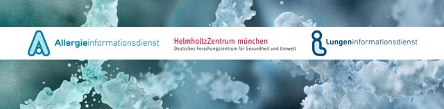 Logos von Allergie- und Lungeninformationsdienst und dem Helmholtz Zentrum München auf einer Grafik von Antikörpern