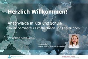 Willkommensfolie zum Online-Seminar: Anaphylaxie in Kita und Schule