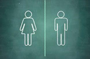 Zeichen für weibliches und männliches Geschlecht nebeneinander auf grünem Hintergrund - © Amayra/fotolia