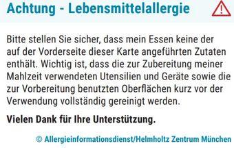 Restaurantkarte © Allergieinformationsdienst